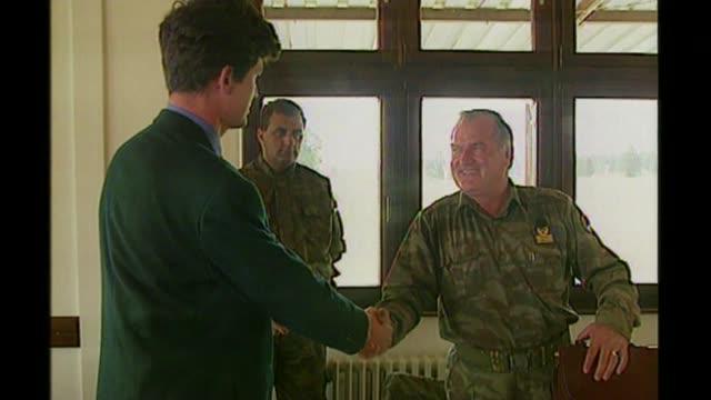 Ratko Mladic sentenced to life imprisonment for Srebrenica genocide BSP050995023 / 591995 Reporter shaking hands with Mladic Mladic interview SOT