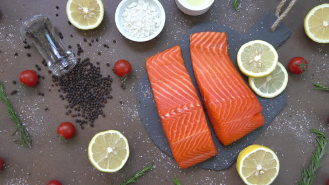 Raw and fresh salmon meat fillet