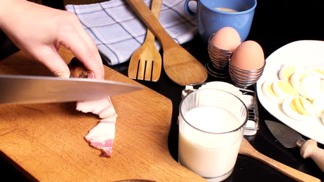 raw bacon - hard boiled egg stock videos & royalty-free footage