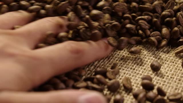 スローモーション 4 k で生コーヒー豆 - 麻袋点の映像素材/bロール