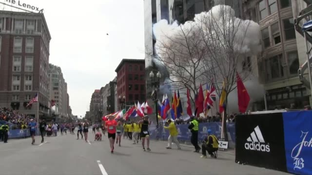 vídeos de stock, filmes e b-roll de raw footage from steve silva of the boston marathon aftermath matches full video on bostoncom from boston marathon explosion and aftermath pt 1 on... - bomb