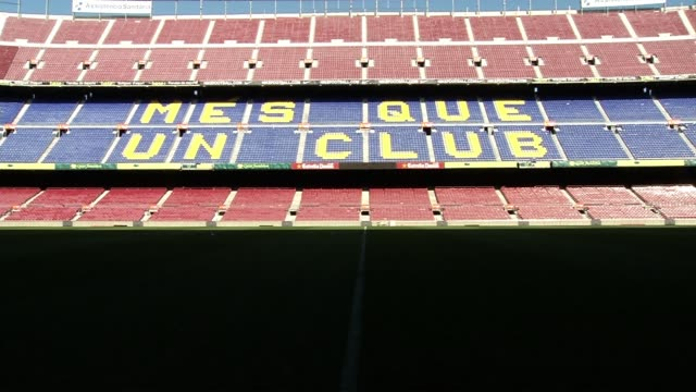 vídeos y material grabado en eventos de stock de raw footage of fc barcelona stadium camp nou general views at camp nou on october 06 2012 in barcelona spain - unión europea de las asociaciones nacionales