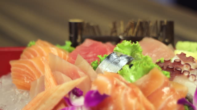 raw fresh sashimi - japanese food style - donburi stock videos and b-roll footage