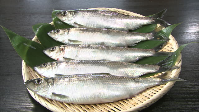 stockvideo's en b-roll-footage met raw herring are displayed on a bamboo platter. - vijf dingen