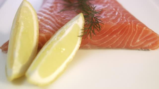 Raw spiced salmon close-up.