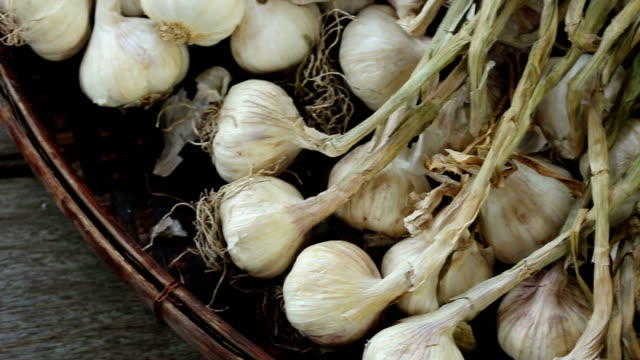 raw sun dried garlic with burn leaf on weaving rattan basket tray, dolly slider slow left to right - garlic stock videos & royalty-free footage