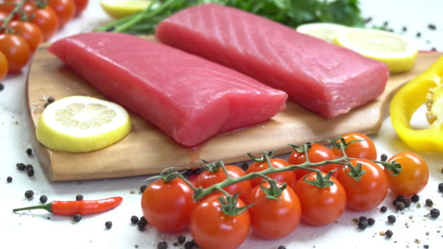 Raw tuna meat fillet