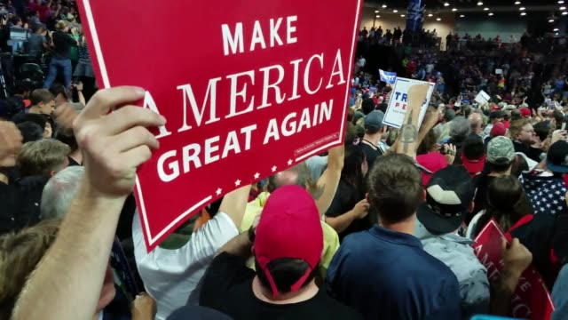 raw unedited footage of the donald trump rally in seattle on 8/30/16 clips show massive crowds - presidential election stock videos & royalty-free footage