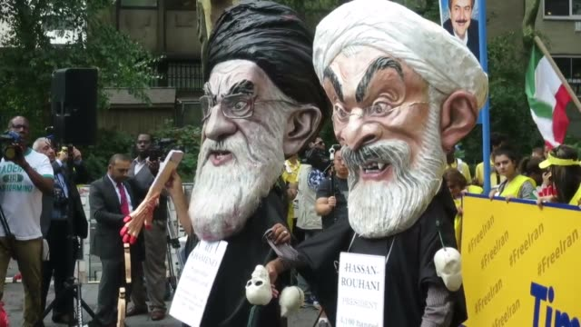 Raw VO and Nat Sound from Iran protest in NYC near United Nations