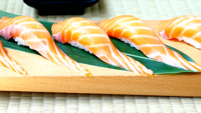 Raw with fresh salmon fish meat sushi