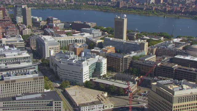 vidéos et rushes de ws aerial pov ray and maria stata center and mit campus with department of brain and cognitive sciences, bridge on charles river with cityscape / cambridge, massachusetts, united states - massachusetts