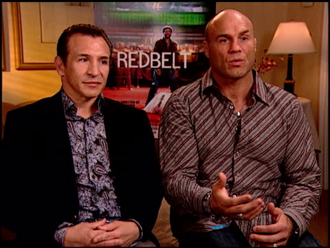 ray 'boom boom' mancini and randy couture on using, or not using, self-defense in everyday situations at the 'redbelt' press junket at null in los... - 自衛点の映像素材/bロール