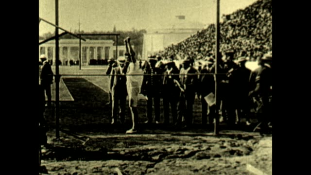 ray ewry competes in the standing high jump at the 1906 intercalated olympic games he would win the gold medal - panathinaiko stadium stock videos & royalty-free footage