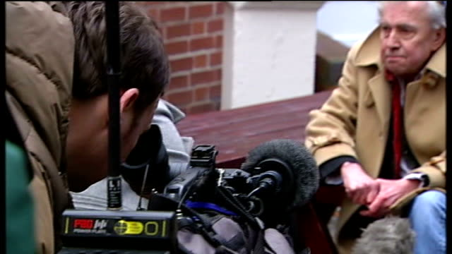 ray gosling charge with 'wasting police time' over mercy killing claim; 16.2.2010 nottingham: ext ray gosling seated talking to press - 許し点の映像素材/bロール