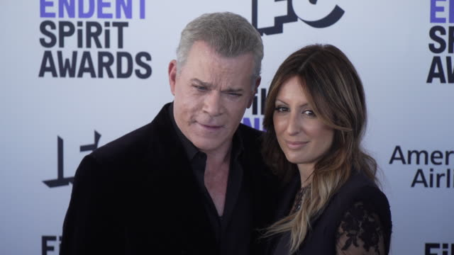 ray liotta jacy nittolo at the 2020 film independent spirit awards on february 08 2020 in santa monica california - film independent spirit awards stock videos & royalty-free footage