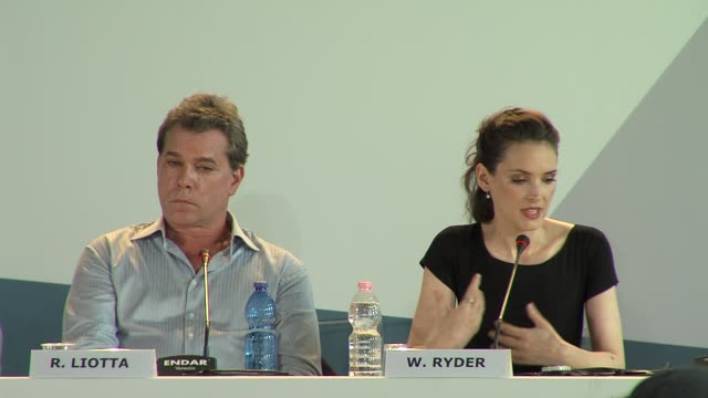 ray liotta, winona ryder at the iceman press conference: 69th venice film festival on august 30, 2012 in venice, italy - winona ryder stock videos & royalty-free footage