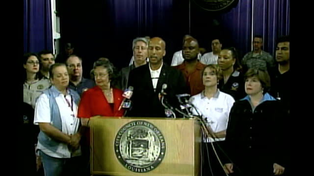 int ray nagin press conference sot we have doubled the police force doubled the national guard force that we had for katrina and looters will go... - mayor stock videos & royalty-free footage