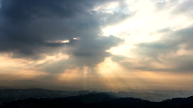 ray of sunshine over seoul / seoul, south korea - bare tree stock videos & royalty-free footage