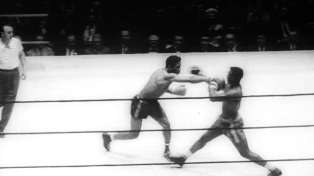 ray patterson fights jim rosette in golden gloves finals / suited men in audience / rosette and patterson boxing each other / audience shouting as... - 1961 stock videos & royalty-free footage