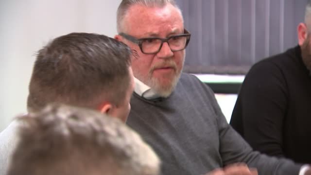 ray winstone coaches veterans ahead of stage debut england int various shots of ray winstone speaking to group of cast members brief sots tip cullin... - ray winstone stock videos & royalty-free footage
