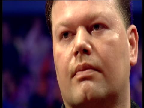 Raymond van Barneveld sweating beats Ritchie Davies to win 2003 Embassy World Championships Mrs van Barneveld looks on crying tears of joy Lakeside...