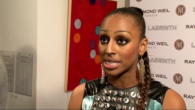 raymond weil and labrinth pre-brit awards dinner.; int alexandra burke interview sot / on new music / on being in great place at the moment / on... - sleeve stock videos & royalty-free footage