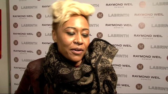 Raymond Weil and Labrinth PreBrit Awards Dinner INT Emeli Sande interview SOT / On performing with David Guetta / On preparing for brits / On not...