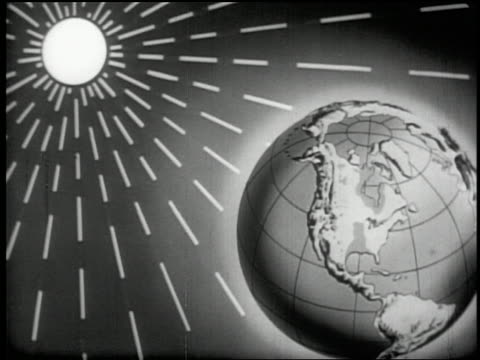 b/w 1955 animated rays of sun moving away from sun toward earth - globe navigational equipment stock videos & royalty-free footage