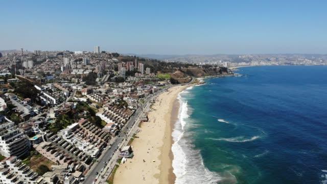 reñaca beach - coastline stock videos & royalty-free footage