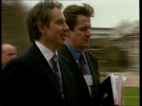Reaction EXT Blair along with Press Secretary Alastair Campbell PAN Westminster INT Iain DuncanSmith MP interview SOT Talks of government shifting...