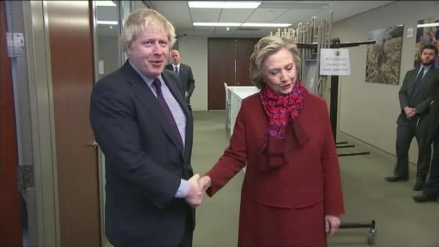 reaction to boris johnson appointment as foreign secretary lib / photography*** boris johnson meeting hillary clinton boris johnson interview sot she... - radio city music hall stock videos and b-roll footage