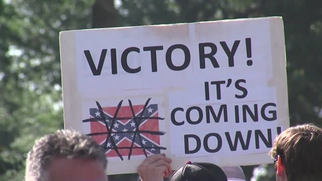 reactions in south carolina right after confederate flag comes down - confederate flag stock videos & royalty-free footage