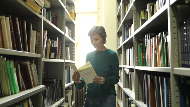 reading a book in library - librarian stock videos & royalty-free footage