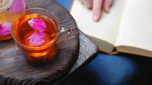 reading and drinking tea - tea pot stock videos and b-roll footage