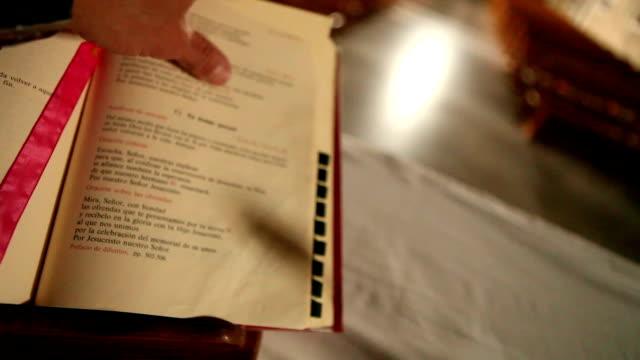 Reading Bible at church