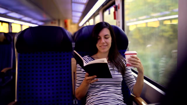 reading book on a train ride - vehicle interior stock videos & royalty-free footage