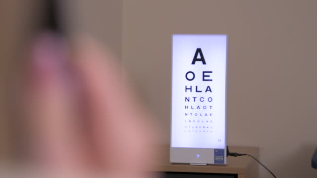 reading eye chart in optician's office slow motion - type 1 diabetes stock videos & royalty-free footage