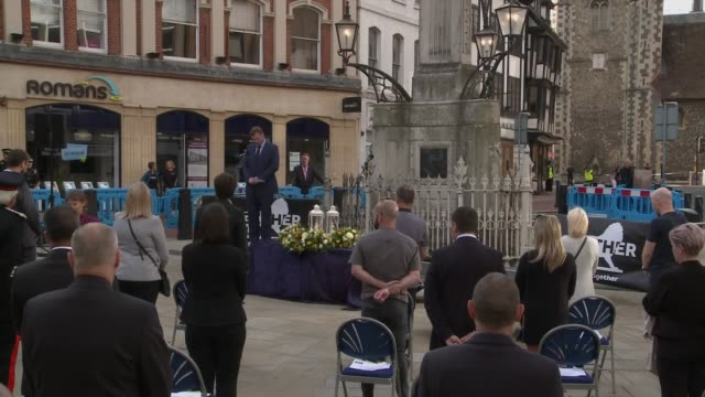 vigil held in reading town centre cutaways ***no england berkshire reading forbury gardens ext high angle view mourners gathered in front of the... - the alphabet stock videos & royalty-free footage