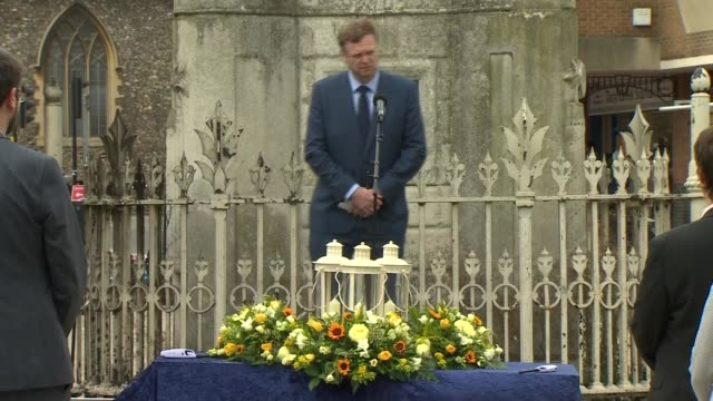 vigil held in reading town centre england berkshire reading forbury gardens market place ext gv altar with floral tributes and lanterns setup in... - circle stock videos & royalty-free footage