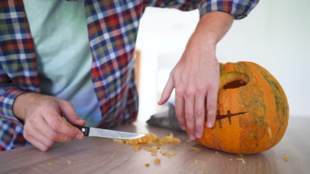 ready for halloween! - carving knife stock videos and b-roll footage