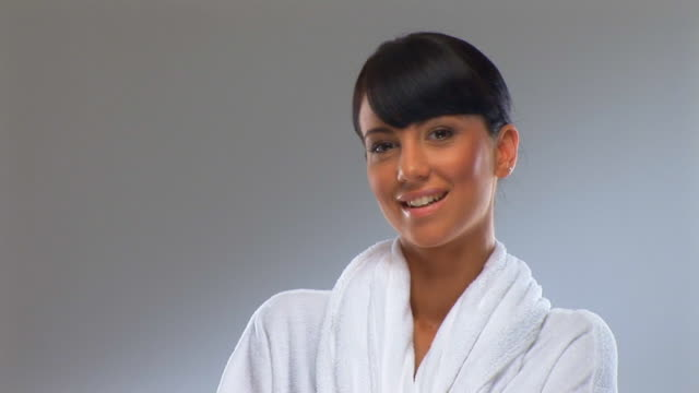 ready for the spa - bathrobe stock videos & royalty-free footage