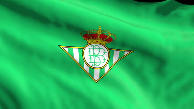 real betis spanish soccer team flag waving. computer generated animation for editorial use. seamlessly looped and close up. - loopable moving image stock videos & royalty-free footage