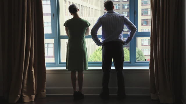 WS Real estate agent and customer looking out window of new home and shaking hands, Hoboken, New Jersey, USA