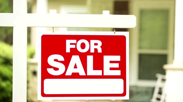 real estate for sale, pending sign in front of house. - selling stock videos and b-roll footage