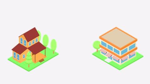 不動産インフォグラフィックホーム漫画 - ストックビデオ - 投影図点の映像素材/bロール