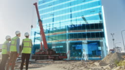 Real Estate Project Construction Site with Architectural Engineer, Investor and Worker Finish Industrial Building Development by Using 3D VFX Graphics. Futuristic Concept of Buildings Development