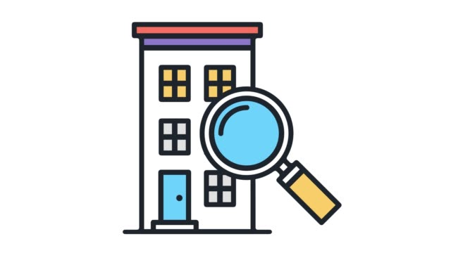 real estate searching flat line icon animation with alpha - outline stock videos & royalty-free footage