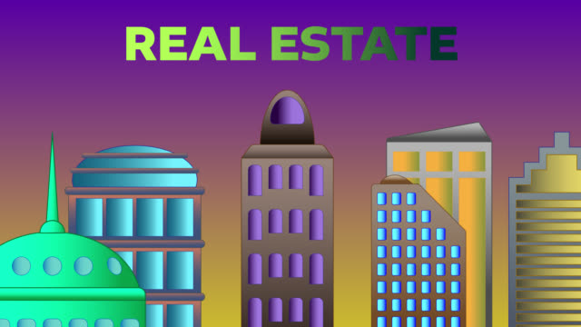 real estate word shattered on cityscape - commercial sign stock videos & royalty-free footage