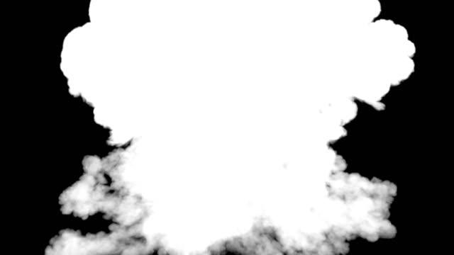 echte riesige feuerexplosionen mit alpha-kanal matt. dunkle rauchspuren und partikel bewegen sich isoliert auf rein schwarzem hintergrund. digitale animation 3d-rendering. 4k, uhd-auflösung - spezialeffekt stock-videos und b-roll-filmmaterial