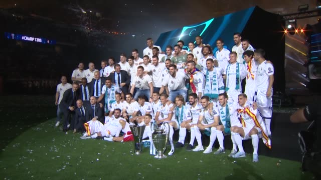 Real Madrid football players and basket players during the Real Madrid team celebration after winning their European Cups